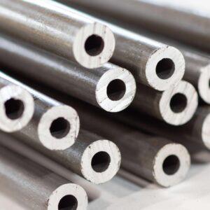 aluminum tube in stack closeup